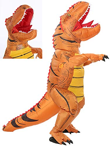 Funny Costumes Inflatable Dinosaur & Unicorn Hoodies Party Dress Halloween Suit (Dino Brown L)