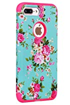 iPhone 7 Plus Cell Phone Case, SAVYOU iPhone 7 Plus 5.5inch Dual Layer Defender Shield Series Case Shock Drop Protection Armor Cover Flower/Pink