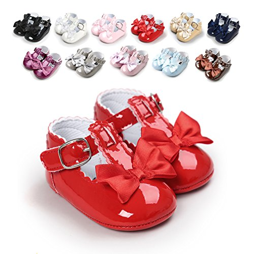Sabe Infant Baby Girls Soft Sole Prewalker Crib Mary Jane Shoes Princess Light Shoes (13cm(12-18month), A-red)