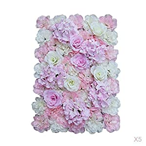 MagiDeal Pieces of 5 Artificial Floral Flower Wall Panel Wedding Venue Backdrop Pink White 10