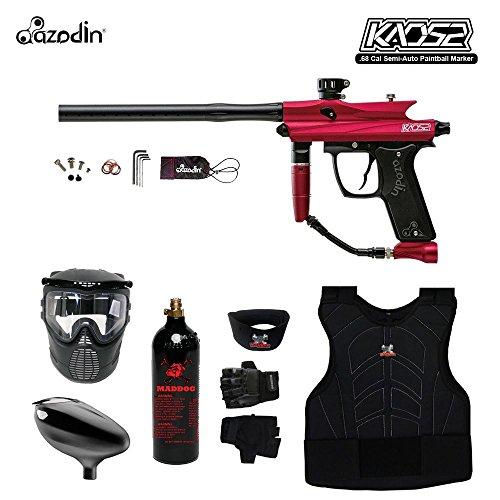 MAddog Azodin KAOS 2 Beginner Protective CO2 Paintball Gun Package - Red/Black