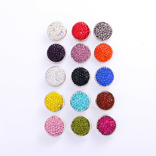 Ginooars Pack of 10 Random Colors 20mm Full Rhinestones Snaps Button Charms for Snap Jewelry (Full Rhinestones Snap)