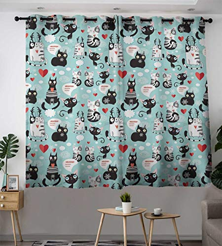 Bohogifts Cat Lover Modern Blackout Curtain Black and White Cats in Love Meow Print Among Hearts Daydreaming Kitties Cat Ears Window Curtains Drapery for Living Room 55'' x 45'' Multicolor