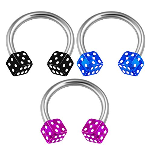 3PCS Surgical Steel Circular Barbell Horseshoe 16 gauge 5/16 8mm 3mm Dice Nose Helix Earrings Septum Piercing Jewelry 1712