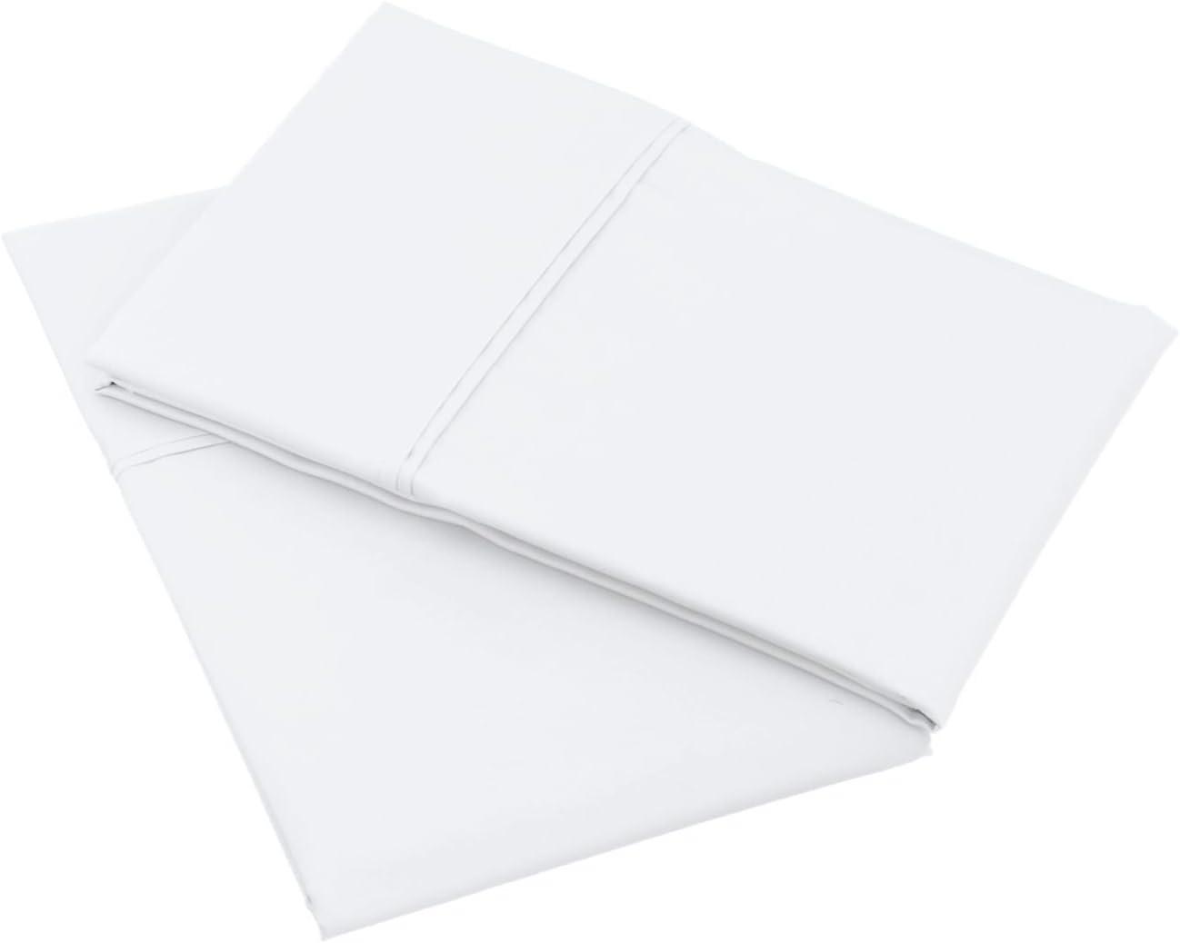 VICTORIA BEDDING - Juego de dos fundas de almohada de algodón de 600 hilos. Suaves y libres de arrugas, calidad de hotel de lujo, 100% algodón, White Solid, Queen Size-50 X 75 Cm