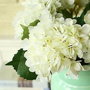 YSBER 3 Big Heads Artificial Hydrangea Silk Fake Flowers Bunch Bouquet Home Hotel Wedding Party Centerpieces Garden Floral Decor(White) 3