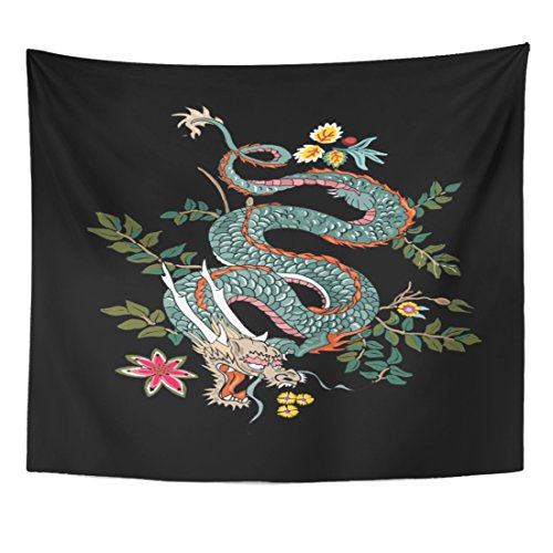 (TOMPOP Tapestry Asian Dragon Flowers Tattoo Patch Black Chinese Japanese Zodiac Home Decor Wall Hanging for Living Room Bedroom Dorm 50x60 Inches)