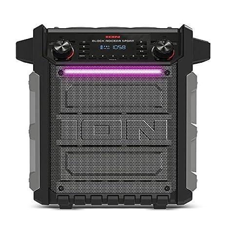ION Audio Block Rocker Sport -Altavoz Bluetooth portátil resistente al agua y al polvo con batería recargable, radio Am y Fm, puerto para USB y micrófono, ...