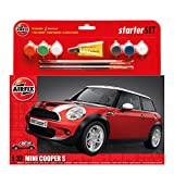 Airfix MINI Cooper S Starter Gift Set 1:32 Scale Car Plastic Model Kit with Paints A50125