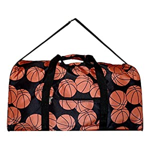 21 Inch Fashion Print Shoulder Strap Overnight Carry On Duffle Bag - Personalization (Basketball)