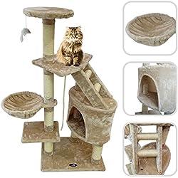 Árbol para gato de color beige con rascador - Torre para rascar de sisal natural