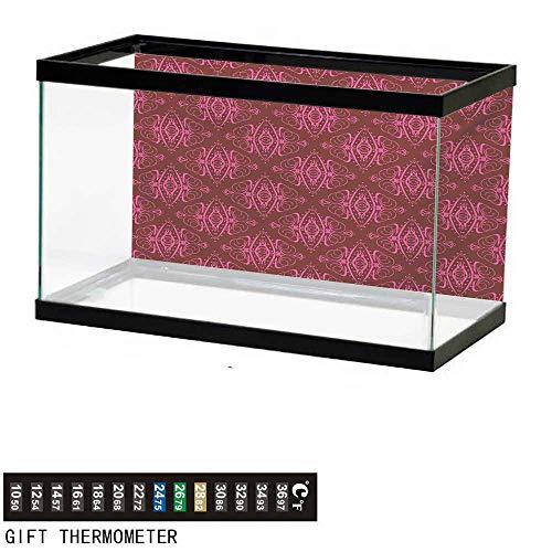 "wwwhsl Aquarium Background,Hot Pink,Traditional Eastern Damask Pattern Over Burgundy Background Ethnic Design Print,Burgundy Pink Fish Tank Backdrop 36"" L X 16"" H"
