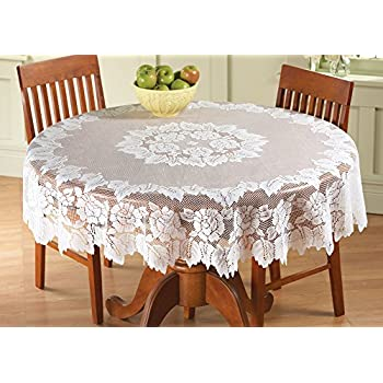 White Floral Lace Tablecloth, Round, 60In