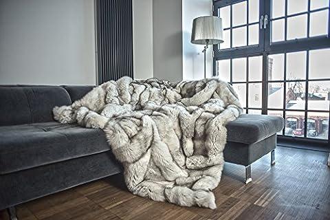 Luxury Blue Fox Fur Real Fur Throw KING SIZE XXXL Rug Bedspread Genuine Blanket (78 x 78 in) (Fox Fur Rug)