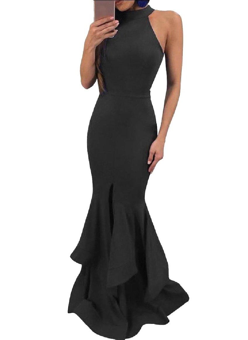 YUNY Women Sleeveless Sexy Halter Falbala Split Fitted Evening Dress Black M