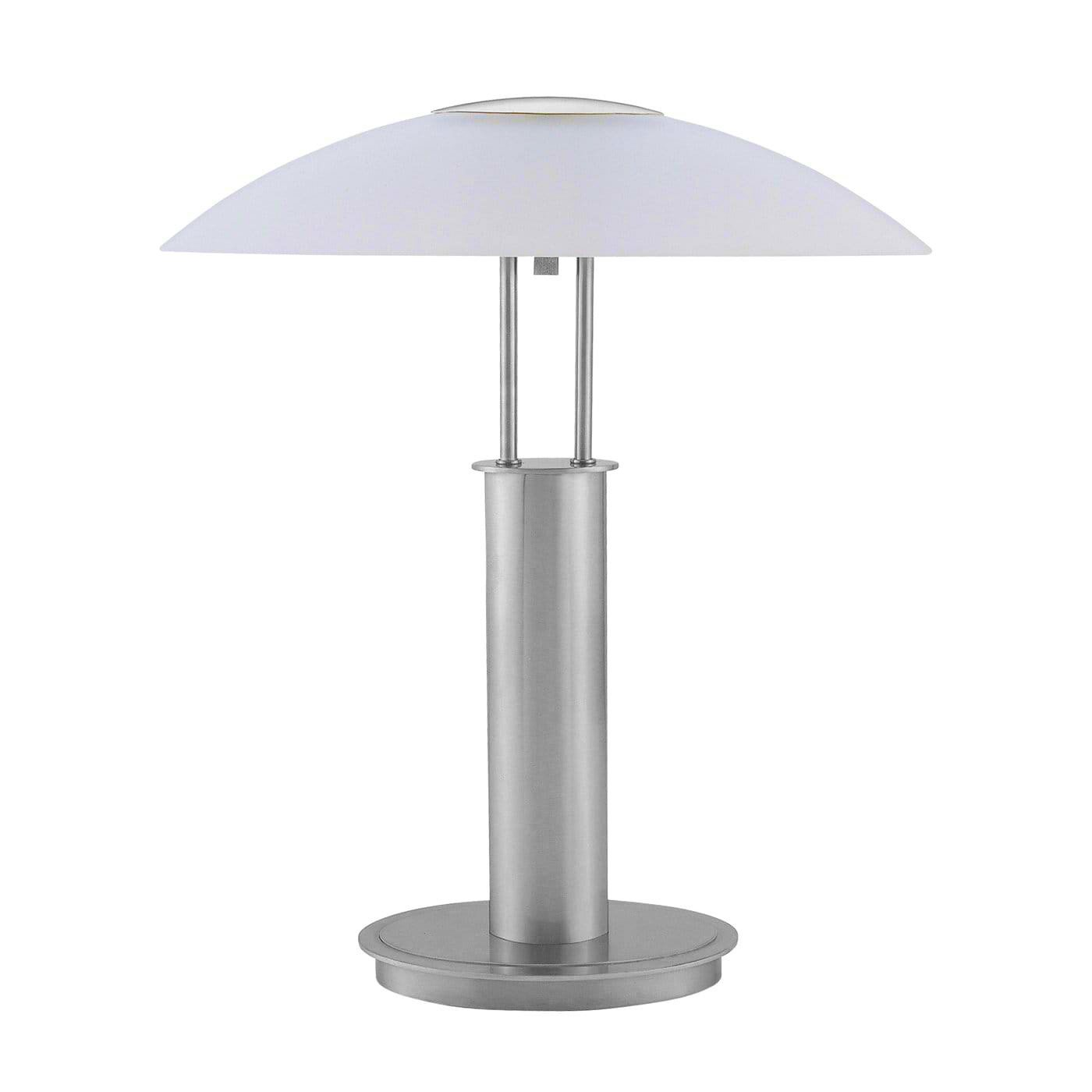 Hongville HV TLAMP 6276 Oval Shape Brushed Steel Base with Frosted Glass Shade Table Touch Lamp