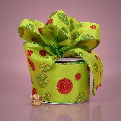 Glitter Dot Satin - Green and Red Glitter Polka Dots Satin Ribbon, 2-1/2