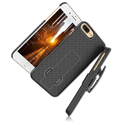 mySimple 2 Piece SECURED-Fit Rubberized Gel Hybrid Case w/ 2 Layered SHOCKPROOF Protection for Apple iPhone 8 w/ Criss Cross Stacked Lines Checkered Banded {Black} w/ Holster Belt Clip & - Banded Soft Shell