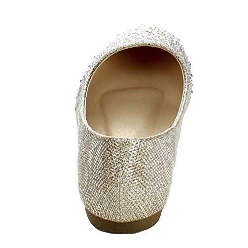 Bonnibel Stor-5 Kvinner Rund Tå Glitrende Glitter Slip På Ballett Leiligheter Champagne