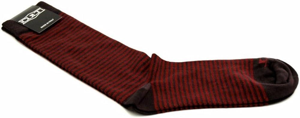 Cult Hombre calcetines en el 100% de algodón negro con rayas rojas. Un tamaño. Made in Italy.: Amazon.es: Zapatos y complementos