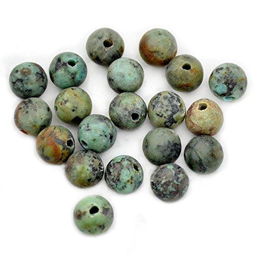 Southwest Gemstone - AD Beads Natural Gemstone 10mm Round Loose Beads Big Hole 2mm Sized 30pcs (African Turquoise)