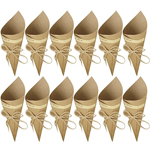 (50 Pcs Wedding Confetti Cones, Retro Kraft Paper Cones Bouquet Candy Chocolate Bags Boxes Wedding Party Favour Gifts Packing with Hemp Ropes Label Stickers Tape Brown)