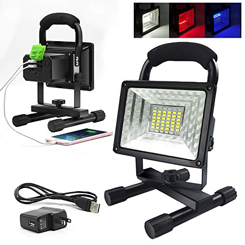 ETOPLIGHTING [30 Watt] Portable 36 LED Emergency Flood Light, Camping Light, Work Light, Emergency SOS Function Flashers and Two USB Port Power Bank, 36 LED Beads, APL1718