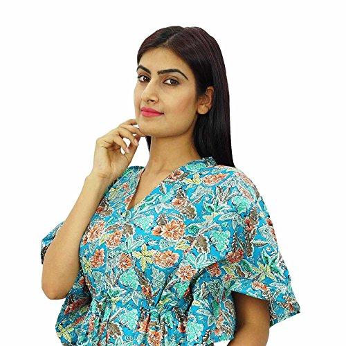 Las mujeres llevan vestido New Indian Kaftan más el tamaño de Caftán Boho Hippy Beach Cover Up Turquesa