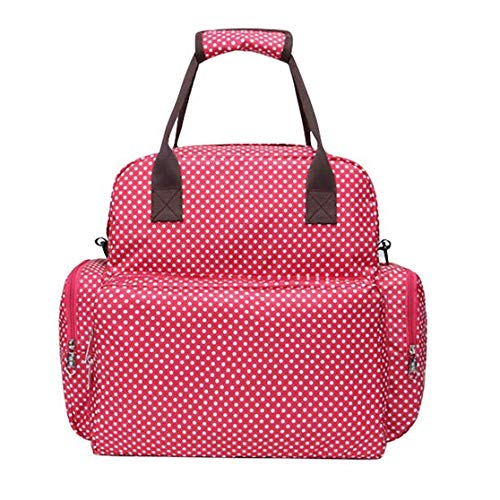 Charm Newborn Baby Bottle - JOYNCLEON Baby Diaper Tote Bag Waterproof Travel Backpack Handbag with Changing Pad (Red Dots)
