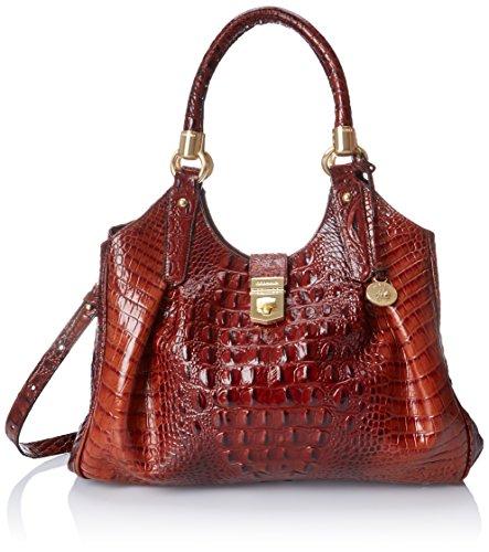 Handbag Croco Hobo (Brahmin Elisa Shoulder Bag, Pecan, One Size)