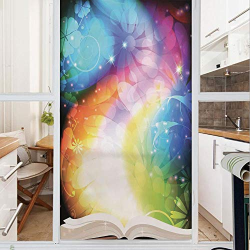 Decorative Window Film,No Glue Frosted Privacy Film,Stained Glass Door Film,Psychedelic Open Book of Fairy Tales on Gradient Rainbow Color Floral Background,for Home & Office,23.6In. by 59In Multi