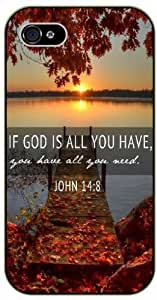 If God is all you have you have all you need - John 14:18 - Lake sunset - Bible verse iPhone 4/ 4s black plastic case / Christian Verses