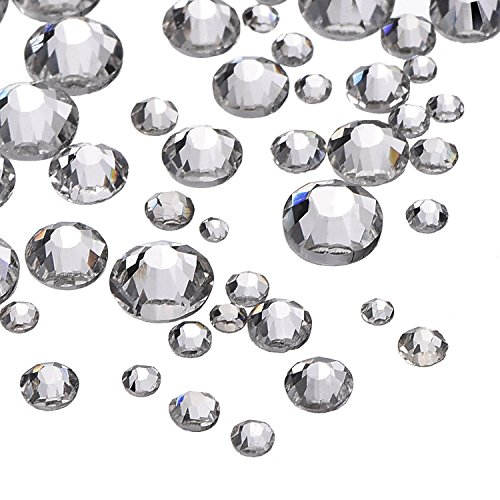 Outus 2000 Pieces 5 Sizes Clear Flat Back Crystal Rhinestones Round Gems 1.5-5 (2000 Crystal)