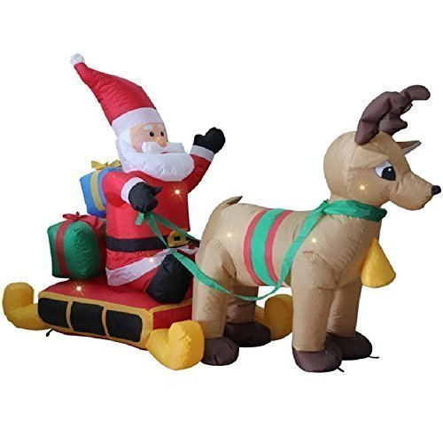 1.8m Santa Single Reindeer Sledge Sleigh Self Inflating Inflatable Electric Blow Up Giant Large Outdoor Garden Christmas Xmas Figure Statue