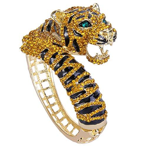 Enamel Hinged Cuff (EVER FAITH® Gold-Tone Tiger Bracelet Brown Austrian Crystal)