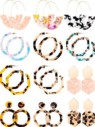 12 Pairs Acrylic Hoop Earrings Tortoise Earrings Mottled Statement Earrings Polygonal Drop Earrings for Women Girls (Style 1)