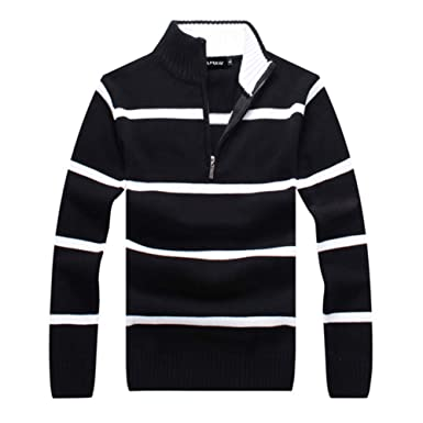 c5e0b20a338 APRAW Men s Casual Striped Polo Sweaters Slim Fit Pullover with Mock Neck  (Black