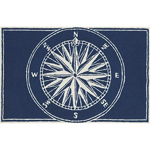Mat Whimsy - Liora Manne FTP12144733 Front Porch Whimsy Coastal Nautical Mariner Sailor Sea Compass Indoor/Outdoor Area Rug 20