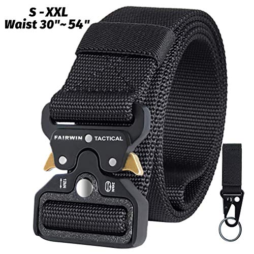 "Fairwin Tactical Belt for Men, Military Style 1.5"" Nylon Web Belt with Heavy-Duty Quick-Release Metal Buckle (Black, XXL (Waist 50''-54''))"
