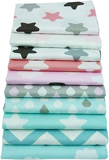 Blue White Fat Quarter//Meter 100/%Cotton Fabric FQ Stripe Chevron Sew Quilt Craft