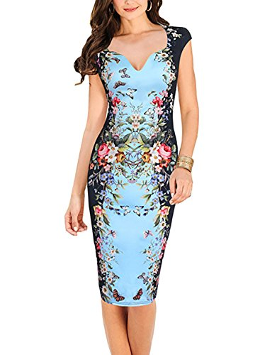 Oxiuly Women's Print Formal Work Sheath Cotton Party Evening Cocktail Dress X160 (S, Blue)