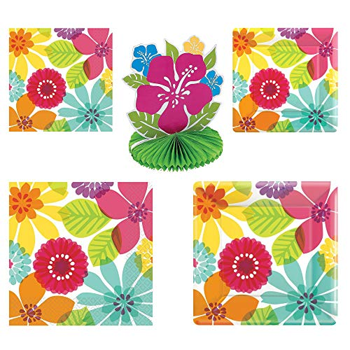 Fun Express Day in Paradise Party Bundle | Luncheon & Beverage Napkins, Dinner & Dessert Plates, Centerpiece | Great for Themed Birthday Party, Summer, Floral, Hawaiian, Luau Party