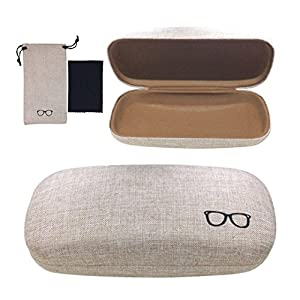 Yulan Hard Shell Glasses Case,Linen Fabric Case for Eyeglasses and Sunglasses(Includes Glasses Pouch)(Khaki/Plus)