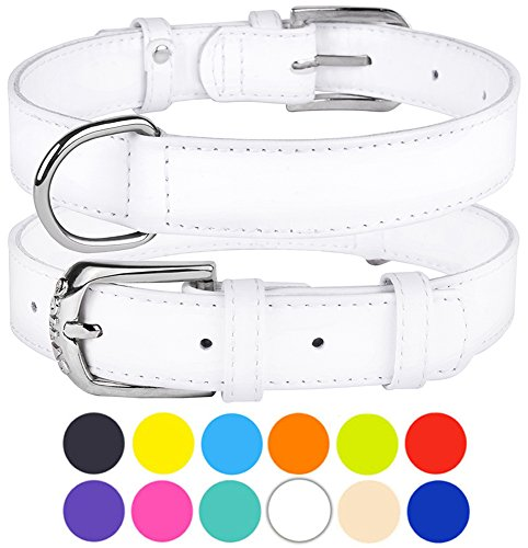 CollarDirect Genuine Leather Dog Collar 12 Colors, Soft Padded Collars for Puppy Small Medium Large, Mint Green Black Pink White Red Blue Purple (White, Size S Neck Fit 11