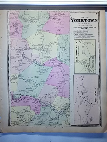 Antique 1867 Hand-Colored Map of Yorktown Shrub Oak Jefferson Valley NY - Map Ny Valley Jefferson