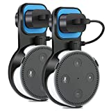 The Original Outlet Wall Mount Hanger Stand for Home Voice Assistants No Messy Wires or Screws Dot Accessories, Wall Mount Stand Holder Stand Bracket for All-New Echo Dot 2nd Generation, 2 Pack Black