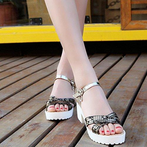 DM&Y 2017 Fr¨¹hling und Sommer arbeiten koreanische Version des gro?en Frauen Schuhe mit hohen Abs?tzen. Fischkopf Sandalen