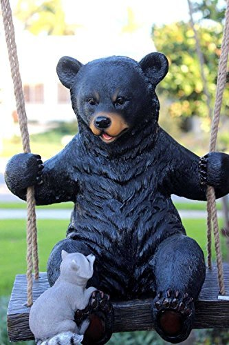Ebros Large Swinging Black Bear With Buddy Raccoon Hanging Statue With Rope Ties 15