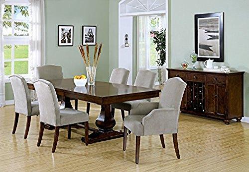 Dining Chair - 2Pcs / 38'H / Beige Velvet Fabric
