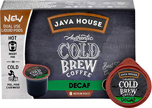 JAVA HOUSE Authentic Cold Brew Coffee, DECAF, K-Cup Coffee Pods, Medium Roast (6 Count)